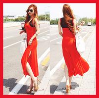 New 2014 hot sale fashion spring summer women's maxi dress club party sleeveless gauze sexy vintage split beach dresses S M L
