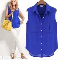 Temperament Casual Shirt Women Spring Summer 2014 Long Sleeve Chiffon V-neck Blouse m164