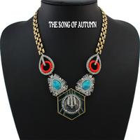 New Design 2014 Fashion Brand Jewelry Imitation Gemstone Necklaces & Pendants Women's Chunky Statement Collar Necklace