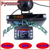 3 in1 Russian Radar detector with GPS Car DVR Preinstall Russia Radar Data Real Korea strellka Ru Motherboard 100% New Arrival!