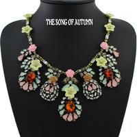 fashion female design multi-layer resin flower charm collar statement necklace Necklaces & Pendants antique jewelry wholesale