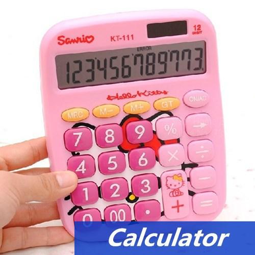 Hello kitty Calculator Mini Solar power 12 digit calculator hello kitty electronics Kawaii Stationery School supplies 6418(China (Mainland))