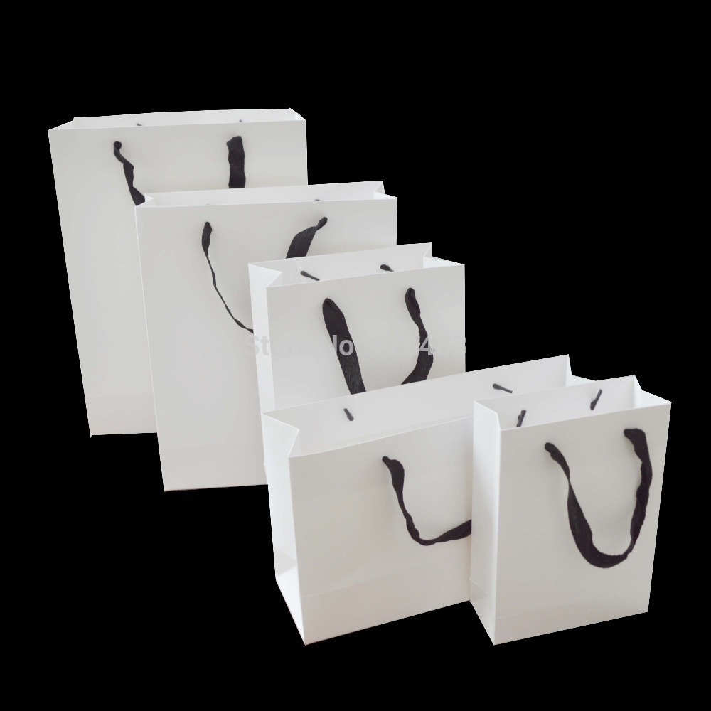 230g wholesale white craft paper gift bag with cotten handles custom bag logo sacolas de papel white card paper bag,100pcs/lot(China (Mainland))