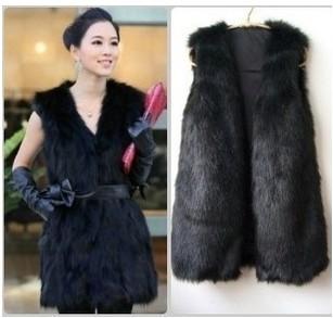 casacos de inverno peles artificiais fur vest Faux fur clothes women's long faux vest medium-long multicolor(China (Mainland))