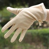 Summer anti-uv slip-resistant short design thin 100% cotton female sunscreen gloves