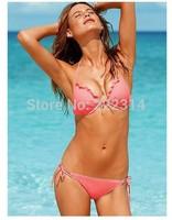 Bikini 1 set Women's Swimwear Swimsuit Sets Padded Push Up Triangle Top Ruched Cups Double String Bottom Beachwear 4113