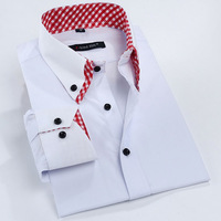 Factory Price High Quality White Shirt Double Collar Slim Fit Plaid collar Men's Dress Shirt Mens Long Sleeve Business Shirts