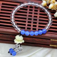 wholesale original design fashion new natural white crystal blue agate lotus flower women bracelet valentine gift free shipping