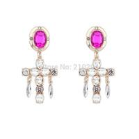 Fashion women earring elegant cross luxury gem earrings female summer all-match dropping earring long design accessories jewelry