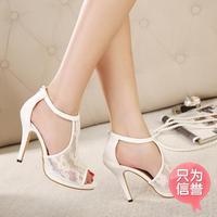 High Heels Women Pumps Hot Peep Toe Selling 2014 New Sandals For Women Latest Bud Mesh Fish Head High-heeled Belt Free Shipping