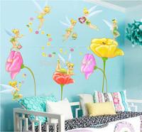 High Quality!! 2014 New Flower Wall Sticker Cartoon Fairy Decals For Kids Room DIY Removable 3D Wallpaper Poster Nursery Art