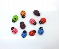 "Free shipping-200pcs Random Mixed Painted Ladybug Self-Adhesive Wood Craft Scrapbooking Ornament 13x9mm(1/2""x3/8"") D2102"