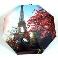 Paris Oil Painting Umbrella Big Folding Exquisite Classic Umbrella Anti-uv Sun/Rain Durable Automatic Umbrella ZL5047