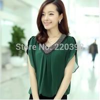 Plus size M-XXXXL 2014 New Summer Sweet Fashion Slim Women's Chiffon Shirt Short-sleeve Female V-neck Beaded Basic 942