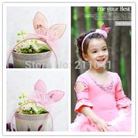 Free shipping 6PCS wholesale cute pink rabbit ear hair bands for girls fashion kids headband dance hair accessories PHB-0135