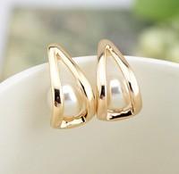 Elegant triangle stud earrings pearl earrings 18K gold plated 2014 new women brincos earrings for women 0532