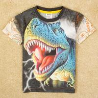 2014 new top !NOVA kids wear children clothing with printing  roaring dinosaur.spring/summer short sleevet-shirts for baby boys