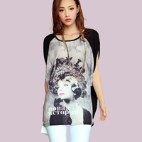 Free Shipping  2014 Korean version of the high-end printing large size chiffon stitching was thin short-sleeved T-shirt