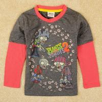 High quality boys springautumn t shirts with printing Plants V.S. Zombies.kids boys fashion top clothing.super cozy&comfortable