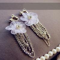 Vintage Charm Victorian White Lace Wedding Crystal Rhinestone Dangle/Drop Earring Bridal Jewelry Flower Tassel Clip Earring