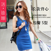 Free Shipping  2014 Korean version of the Slim camisole dress skirt package hip skirt bottoming knit sleeveless dress