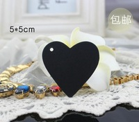 Free shipping (500pcs/lot), Heart shape blank black clothing hang tags Paper price label tags
