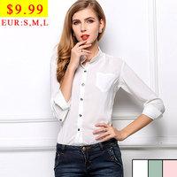 White Transparent Sheer Blouse 2014 Big Size Women Clothes Chiffon Office Lady Casual Shirt Mandarin Collar Designer Shirts Tops