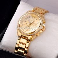 2014 New Brand Women watch men Gold alloy Quartz steel watches Dress watches calendar watch Fashion Sports watch Drop shipping