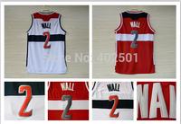 Free Shipping Washington 2 #  John Wall HOME White AWAY Red Jersey Cheap Mens Basketball Jersey  S-XXL