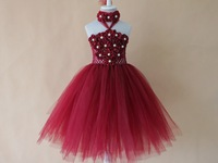 100% new design burgundy wine color tutu dress for baby girls party dress babies toddler photo prop fluffy dress with headband