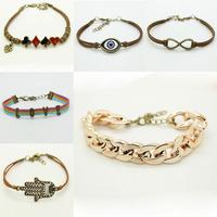 Only 1pcs send Free Fashion Handmand Silver Tone infinity charms MIX colors Bracelet suede leather bracelet  bracelet Best gift