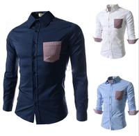 Foreign Trade New Autumn 2014 Men'S Casual Long-Sleeved Plaid Shirts Men'S Fashion Stitching Shirts Men'S Dress Shirts XG50-189