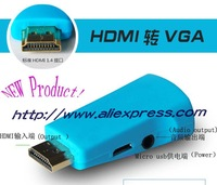Free shipping 2pcs/lot HDMI to VGA with Audio Converter to convert HD head separately powered HDMI Adapter