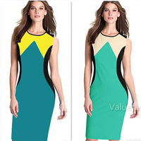 2014 Free Shipping New Fashion Womens Retro Pinup Colorblock Stretch Bodycon Cocktail Party Pencil Dress