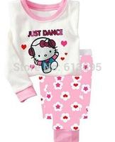 hello kitty,wholesale Baby girls Pure Cotton long sleeve T-shirt+pant, pajamas ,clothing set 6pcs/lot