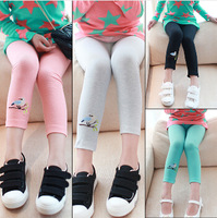 2014 new Kids child girls leggings Spring summer embroidered bird children leggings girls color green, pink legging,free shiping