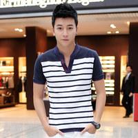 Top Quality Men's T shirt 2014 Summer New V-neck  Short Sleeve Stripe Men T-shirt Big Size M-XXXL Comfortable Cotton Male Tees