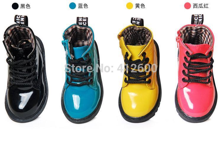 free shipping,2014 hot sale, Solid Lace-up Breathable Children boots with Side Zipper,kids Leather Shoe, Unisex Children Sneaker(China (Mainland))