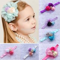 Drop Shipping1pcs triple 3d ribbon rosette flower lace flat pad rhinestone beads button with FOE shimmery headband