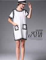 Elegant Ladies' Fashion Silk Dress Women Wear to Work Slim Knee-Length Pocket Party Bodycon Dress free shipping 2014Best Quality