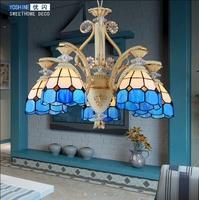 European style Tiffany chandelier LED chandelier Mediterranean Sea living room light