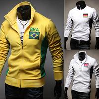Hot Sale Men Hoodies 2014 Spring Autumn Fashion Men Clothing  Flag Print Men's Jacket Sport Coat Slim Outwear Tracksuit