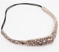 2014 new Wholesale fashion handmade pearl cubic beads with crystal gems elastic hairbands headband  hairband hair accessories