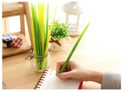(12 pieces/lot) silica gel grass leaf ballpoint pen Pooleaf grass-blade pen, cute stationery, 3 green color free shipping