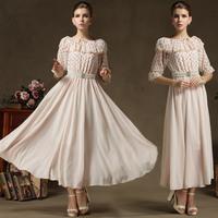 2014 Summer Ruffle Two Ways  Flare Sleeve Full Dress Women One-piece Cute Long Chiffon Dress Luxurious Pearl Belt