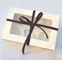 6-count White box cupcake cupcake box with insert 24cm*16cm*7.5cm  ( 100 pieces)