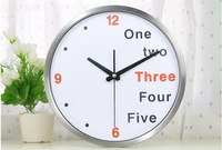 M36 12inch original silene sweep quartz wall clock with stainless materails and glass cover high quality products
