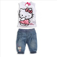 2014 Baby Girls Clothing Set for Summer Lovely Hello Kitty Kids Apparel New Arrival Suit Set Free Shipping 32100