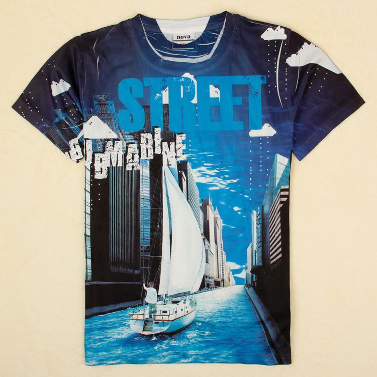 NA-23, Street, Children T shirt, 3D image, short sleeve cartoon T shirt.(China (Mainland))