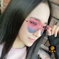 Fashion Heart -shaped reflective gradient color sweet peach heart sunglasses rimless BB203 women's Anti-UVA Anti-UVB sunglasses